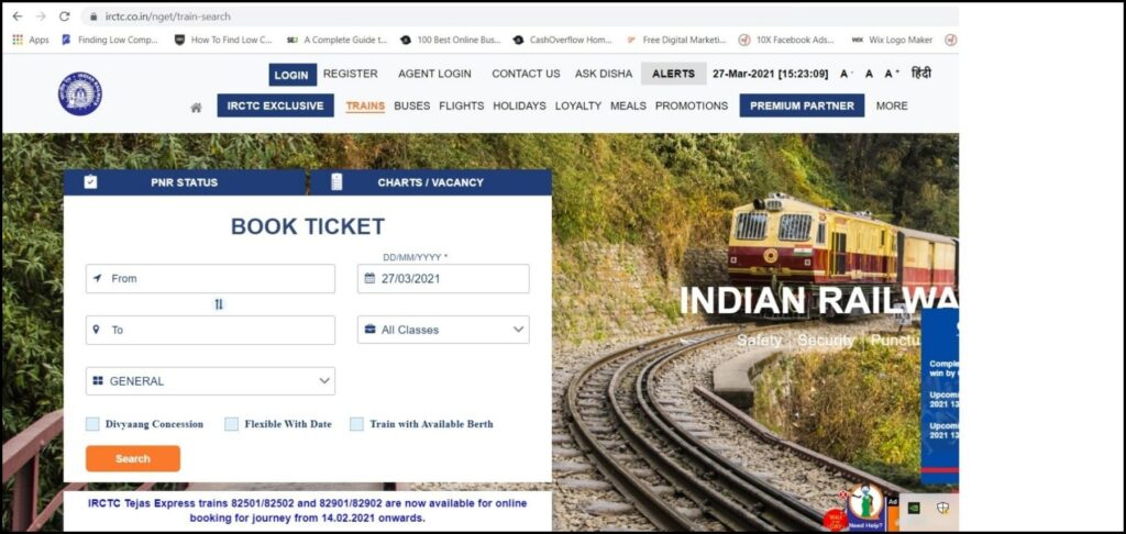 How to print counter train ticket using PNR number