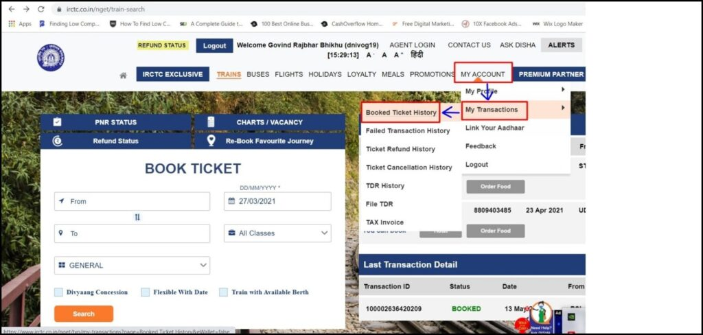 how to print train ticket using pnr number